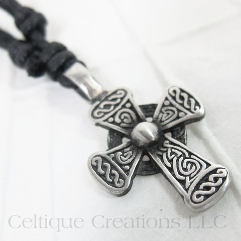 Rounded,Celtic,Cross,Necklace,Fine,Pewter,Adjustable,Celtic Cross Necklace, Pewter Celtic Necklace, Celtic Cross Adjustable Necklace, Adjustable Celtic Necklace, Celtic Jewelry, Celtique Creations