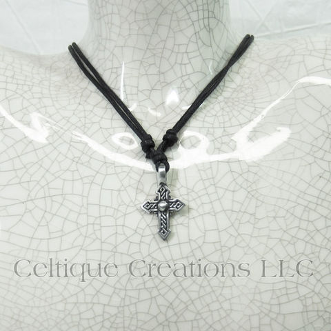 Pointed Celtic Cross Necklace Ajustable Fine Pewter - product images  of