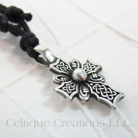 Celtic,Knotwork,Cross,Necklace,Adjustable,Fine,Pewter,Celtic Cross Necklace, Pewter Celtic Necklace, Celtic Cross Adjustable Necklace, Adjustable Celtic Necklace, Celtic Jewelry, Celtique Creations