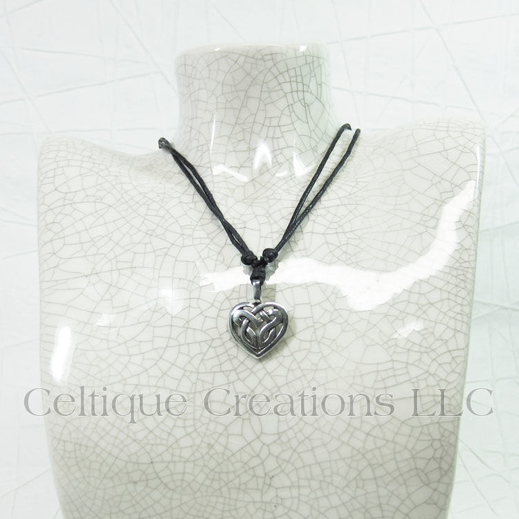 Celtic Knot Heart Fine Pewter Adjustable Necklace - product images  of