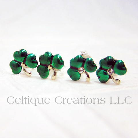 Green,Shamrock,Sterling,Silver,Stud,Earrings,Shamrock Earrings, Sterling Silver Shamrock Earrings, St. Patrick's Day Earrings, Shamrock Stud Earrings, Shamrock Post Earrings, Irish Jewelry, Celtic Jewelry, Celtique Creations