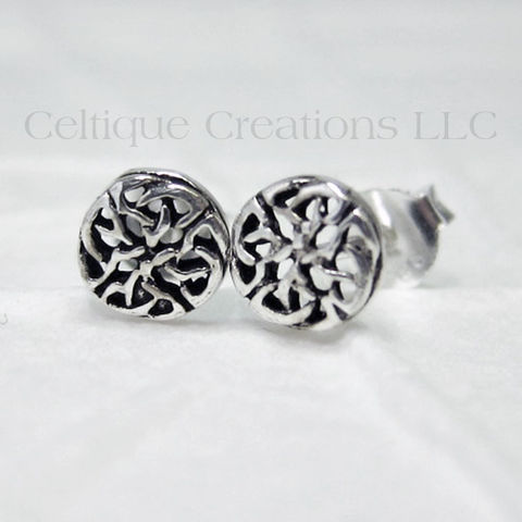 Celtic,Interlocking,Trinity,Knot,Sterling,Silver,Stud,Earrings,Celtic Knot Earrings, Sterling Silver Celtic Knot Earrings, Celtic Knot Stud Earrings, Celtic Knot Post Earrings, Celtic Jewelry, Celtique Creations