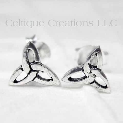Trinity,Knot,Sterling,Silver,Stud,Earrings,Trinity Knot Earrings, Triquetra Earrings, Sterling Silver Celtic Earrings, Celtic Stud Earrings, Celtic Post Earrings, Trinity Stud Earrings, Celtic Jewelry, Celtique Creations