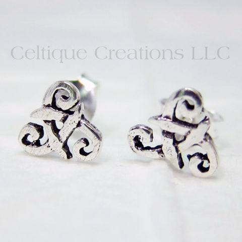 Celtic,Triskele,Trinity,Knot,Sterling,Silver,Stud,Earrings,Trinity Knot Earrings, Triquetra Earrings, Sterling Silver Celtic Earrings, Celtic Stud Earrings, Triskele Earrings, Triple Spiral Earrings, Triskele Sterling Silver Stud Earrings, Triple Spiral Post Earrings, Celtic Post Earrings, Trinity Stud Earrings,
