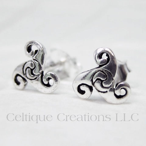 Celtic,Triskele,Sterling,Silver,Stud,Earrings,Triskele Earrings, Celtic Triskele Earrings, Triple Spiral Earrings, Sterling Silver Triskele Earrings, Celtic Jewelry, Sterling Silver Celtic Jewelry, Celtique Creations