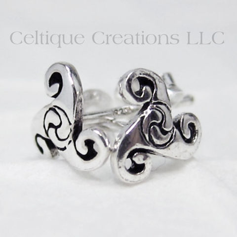 Celtic Triskele Sterling Silver Stud Earrings - product images  of