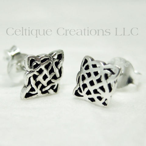 Celtic,Diamond,Knot,Sterling,Silver,Stud,Earrings,Celtic Knot Earrings, Sterling Silver Celtic Knot Earrings, Celtic Knot Stud Earrings, Celtic Knot Post Earrings, Celtic Jewelry, Celtique Creations