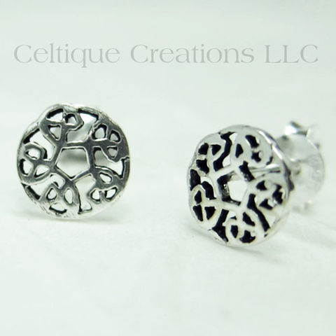 Circle,Celtic,Knot,Sterling,Silver,Stud,Earrings,Celtic Knot Earrings, Sterling Silver Celtic Knot Earrings, Celtic Knot Stud Earrings, Celtic Knot Post Earrings, Celtic Jewelry, Celtique Creations