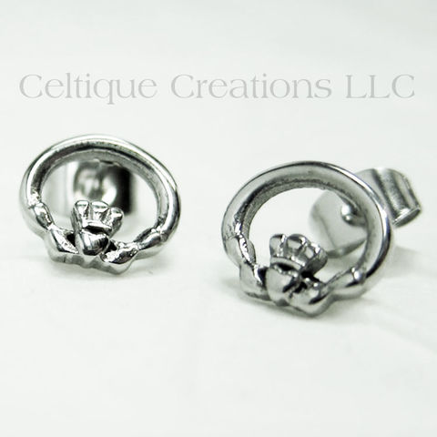 Claddagh Stud Earrings Stainless Steel - product images  of