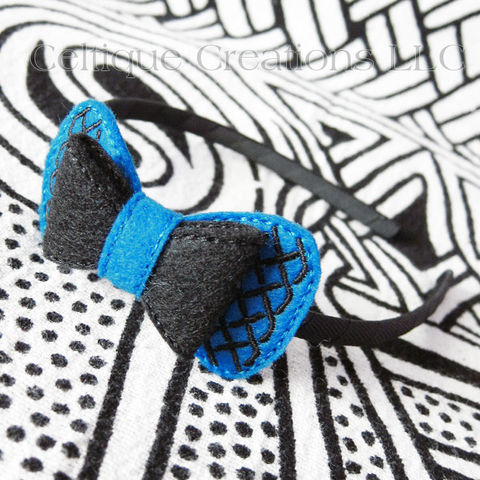 Handmade,Celtic,Headband,Blue,and,Black,Celtic Hair Bow, Celtic Headband, Celtic Hair Accessory, Handmade Hair Bow, Handmade Headband, Handmande Hair Accessory, Blue and Black Bow, Celtique Creations
