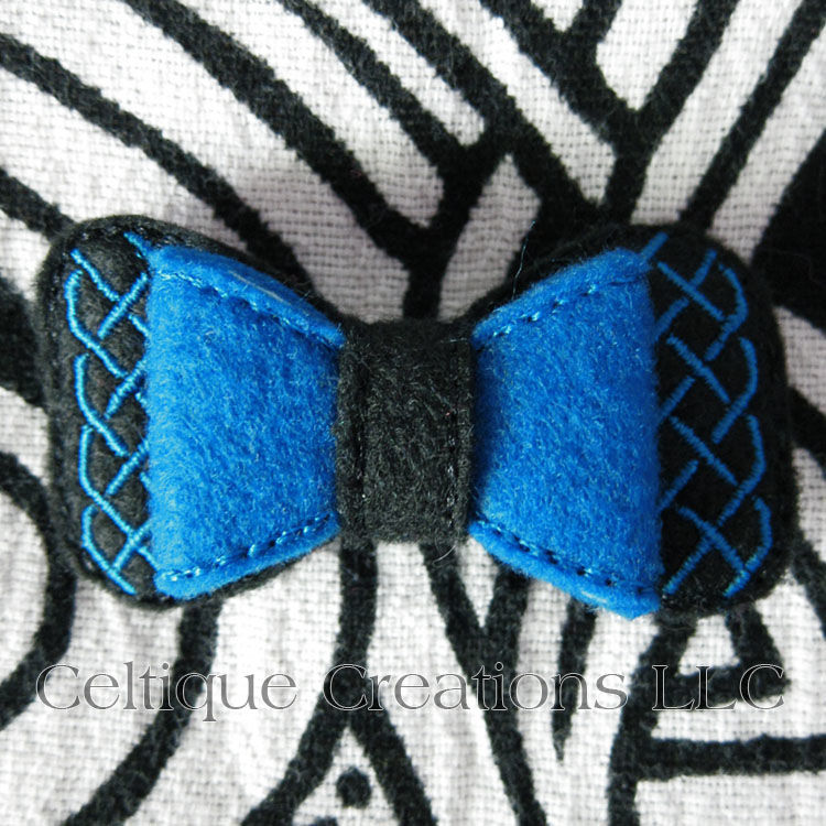 Handmade Celtic Barrette Hair Bow Black and Blue - product images  of