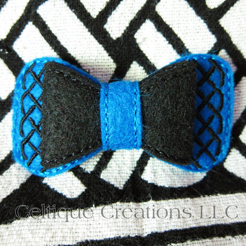 Celtic Bow Barrette Handmade Blue and Black - product images  of