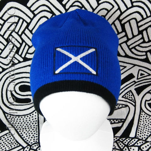 Scottish Flag Beanie Saltire Embroidered Winter Hat Cap - product images  of