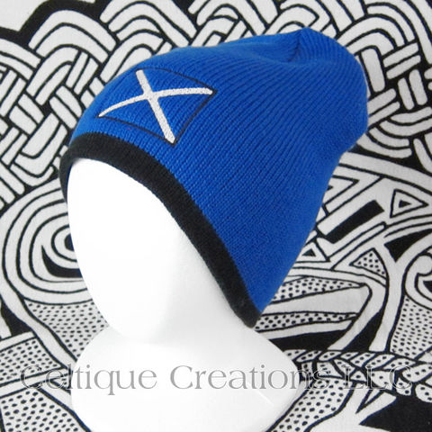 Scottish,Flag,Beanie,Saltire,Embroidered,Winter,Hat,Cap,Scottish Flag, National Flag of Scotland, Saltire, Scottish Flag Hat, Scottish Flag Winter Hat, Scottish Knit Cap, Celtique Creations