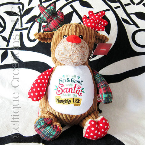 Cheeky Christmas Patchwork Reindeer Cubbies Stuffed Animal - product images  of