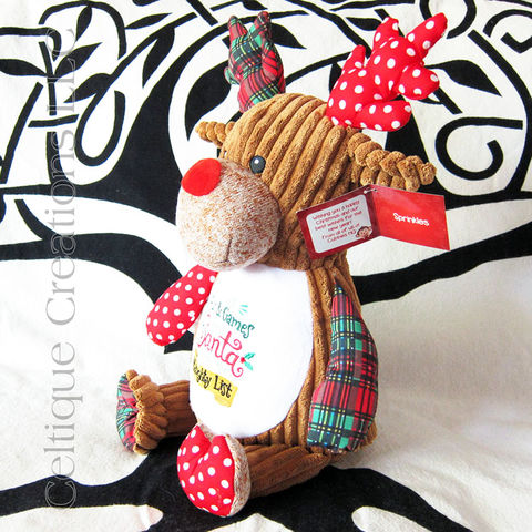 Cheeky,Christmas,Patchwork,Reindeer,Cubbies,Stuffed,Animal,Christmas Stuffed Animal, Patchwork Reindeer Stuffed Animal, Christmas Reindeer Stuffed Animal, Cubbies Reindeer, Embroidered Stuffed Animal, Celtique Creations