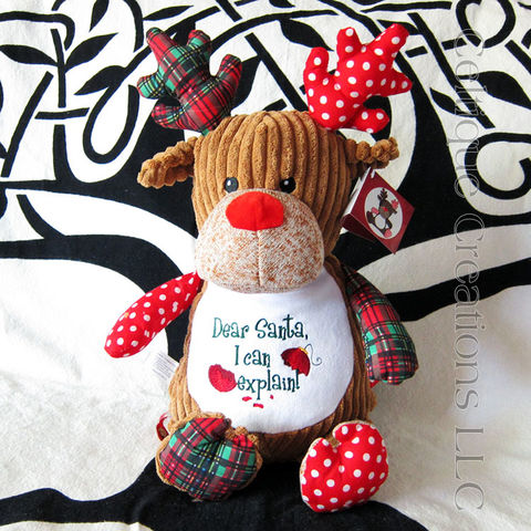 Dear,Santa,Christmas,Patchwork,Reindeer,Cubbies,Stuffed,Animal,Christmas Stuffed Animal, Patchwork Reindeer Stuffed Animal, Christmas Reindeer Stuffed Animal, Cubbies Reindeer, Embroidered Stuffed Animal, Celtique Creations