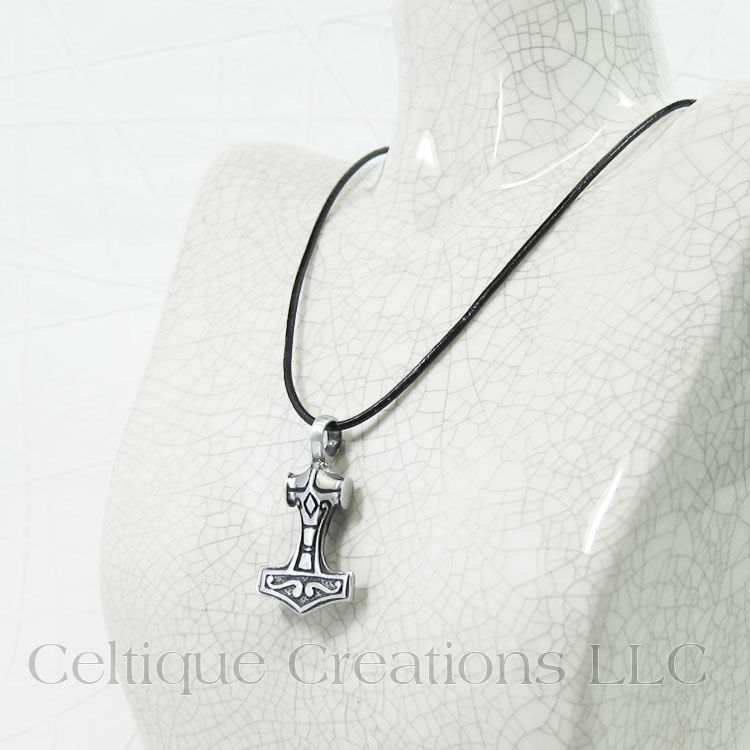 Two Sided Thor's Hammer Mjolnir Handmade Necklace - product images  of