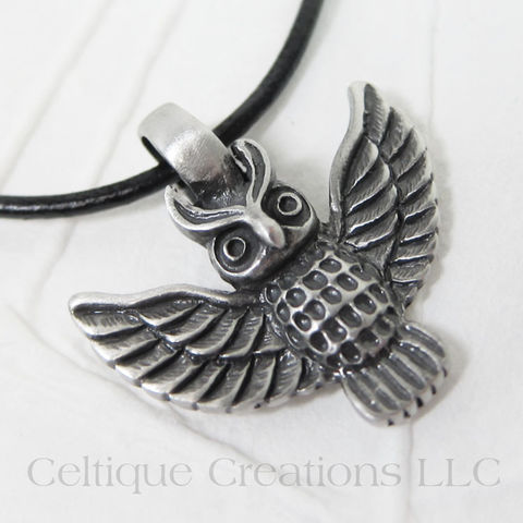 Owl,Necklace,Handmade,Adjustable,with,Pewter,Pendant, Owl Necklace, Owl Jewelry, Handmade Owl Necklace, Handmade Necklace, Owl Pendant, Pewter Owl Pendant, Celtique Creations