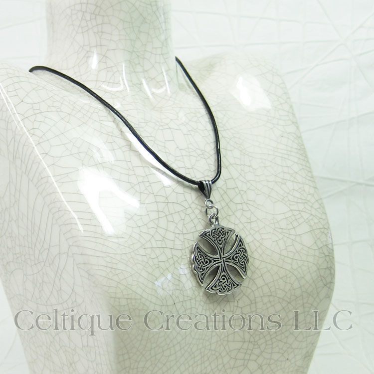 Circular Celtic Cross Necklace Handmade Adjustable - product images  of