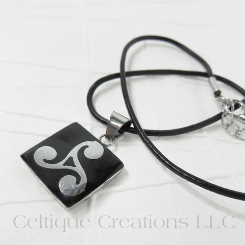 Handmade,Triskele,Necklace,with,Wood,and,Steel,Pendant,Celtic Triskele Necklace, Celtic Triple Spiral Necklace, Celtic Triskelion Necklace, Handmade Triskele Necklace, Triskele Necklace, Triple Spiral Necklace, Celtique Creations