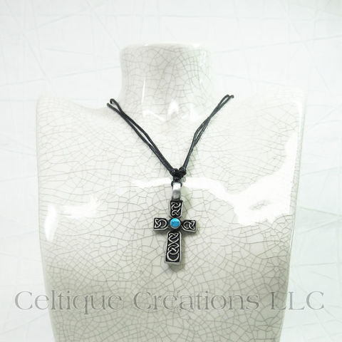Celtic Cross with Stone Necklace Adjustable - product images  of
