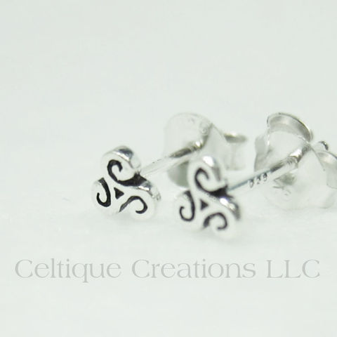 Extra Petite Triskele Sterling Silver Stud Earrings - product images  of