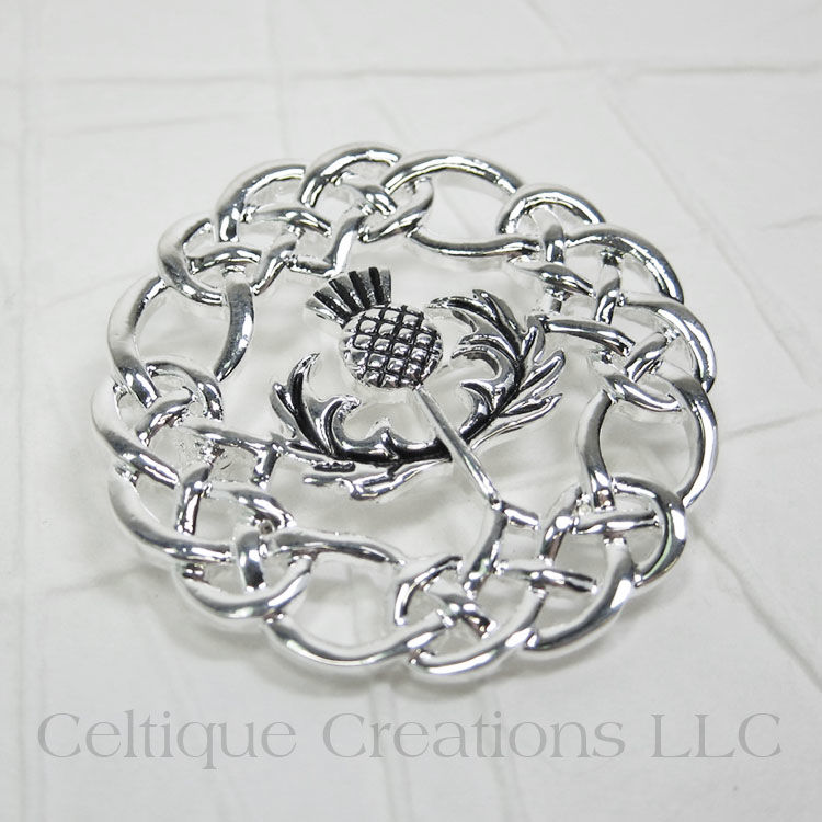 Scottish Thistle Celtic Knot Brooch Pin - product images  of