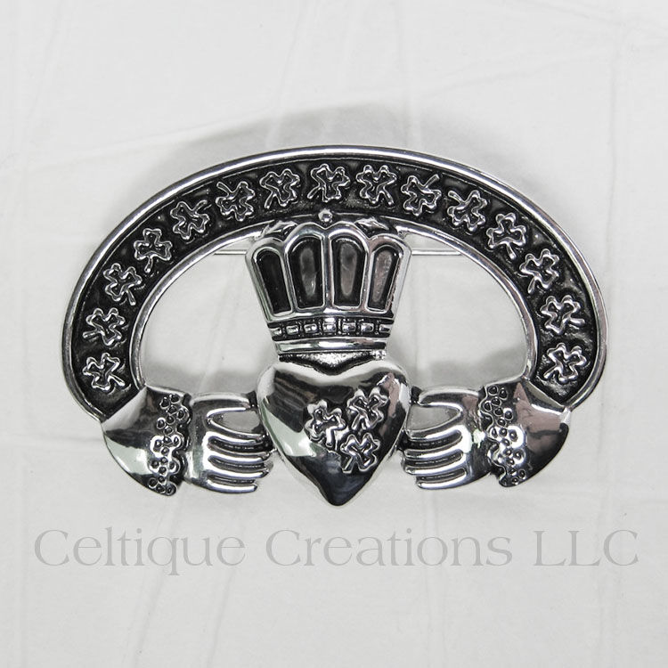 Irish Claddagh Shamrock Brooch Pin - product images  of