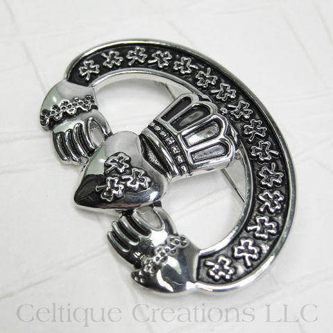 Irish,Claddagh,Shamrock,Brooch,Pin,Claddagh Brooch, Claddagh Pin, Claddagh Jewelry, Irish Brooch, Irish Pin, Irish Jewelry, Shamrock Brooch, Shamrock Pin, Shamrock Jewelry, Celtique Creations