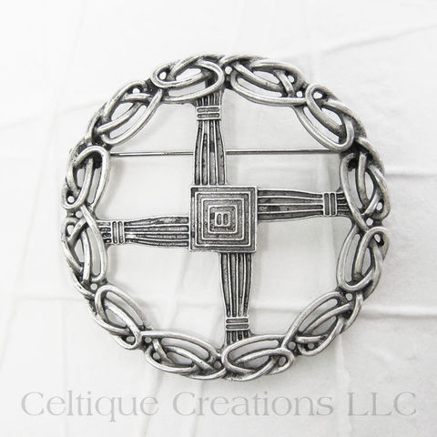 St. Brigid's Cross Brooch Pin with Celtic Knotwork - product images  of