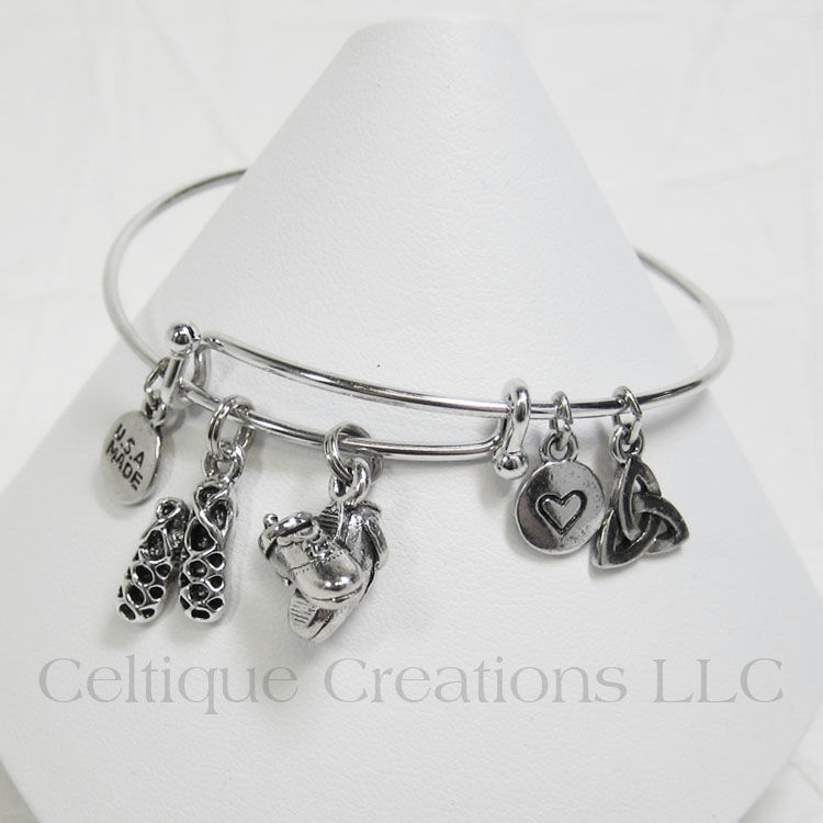 Irish Dance Shoes Bangle Charm Bracelet Adjustable - product images  of