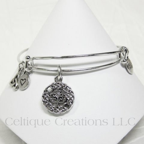 Scottish Thistle Charm Bangle Bracelet Adjustable - product images  of