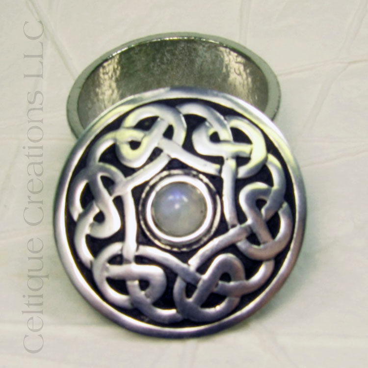 St. Justin Pewter Celtic Pill Trinket Box with Stone - product images  of