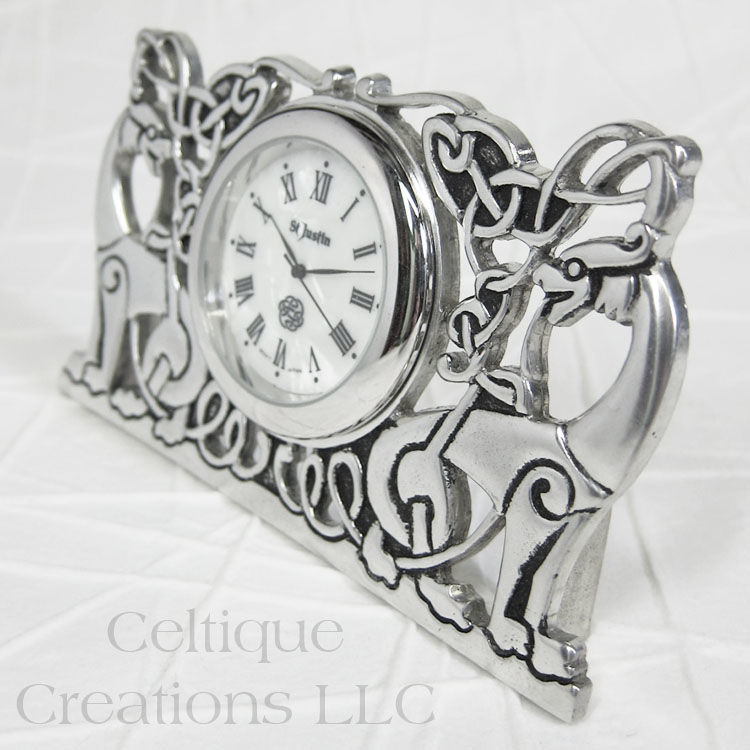 Celtic Knotwork Beasts St. Justin Pewter Desk Clock - product images  of