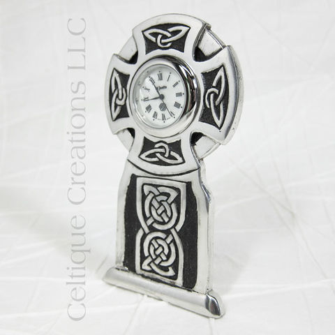 Round,Celtic,Cross,St.,Justin,Pewter,Desk,Clock,Celtic Cross Clock, Celtic Knotwork Cross Clock, Celtic Cross Desk Clock, Celtic Desk Clock, Celtic Clock, St. Justin Pewter, Celtique Creations