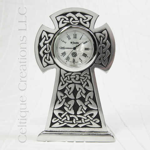 Celtic,High,Cross,St.,Justin,Pewter,Desk,Clock,Celtic Cross Clock, Celtic Knotwork Cross Clock, Celtic Cross Desk Clock, Celtic Desk Clock, Celtic Clock, St. Justin Pewter, Celtique Creations