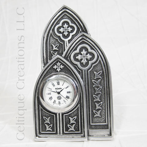 Cathedral,Windows,St.,Justin,Pewter,Desk,Clock,Cathedral Window Clock, Church Window Clock, Desk Clock, St. Justin Pewter, St. Justin Desk Clock, Home Decor, Office Decor, Celtique Creations