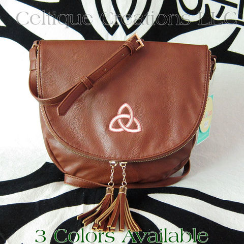 Trinity,Celtic,Knot,Sienna,Tassel,Crossbody,Purse,Trinity Knot Purse, Celtic Knot Purse, Celtic Vegan Leather Purse, Celtic Leatherette Purse, Celtic Purse, Trinity Knot Purse, Sienna Purse, Liv & Lou Purse, Celtic Cross Body Purse, Celtique Creations