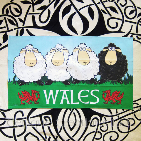 Wales,Sheep,Cotton,Tea,Towel,Wales Tea Towel, Welsh Dragon, Sheep Tea Towel, Cartoon Sheep, Cotton Tea Towel, Kitchen Towel, Celtique Creations
