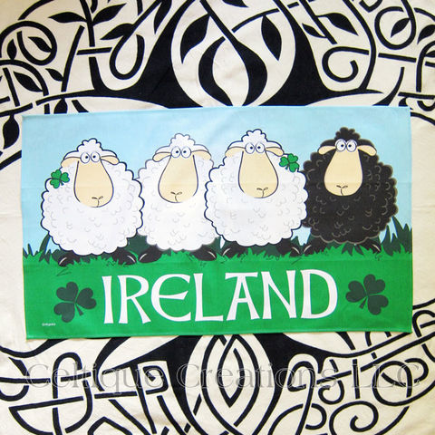 Ireland,Sheep,Cotton,Tea,Towel,Ireland Tea Towel, Sheep Tea Towel, Shamrock, Cartoon Sheep, Cotton Tea Towel, Kitchen Towel, Celtique Creations