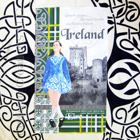 Heraldic,Ireland,Cotton,Tea,Towel, Ireland Tea Towel, Irish Dance Tea Towel, Irish Dancer Tea Towel, Blarney Castle, Cotton Tea Towel, Kitchen Towel, Celtique Creations