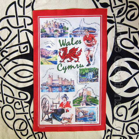 Iconic,Wales,Cotton,Tea,Towel,Wales Tea Towel, Welsh Dragon, Iconic Wales, Welsh Tea Towel, Castles, Ruby, Tea Towel, Cotton Tea Towel, Kitchen Towel, Celtique Creations
