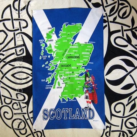 Illustrated,Scotland,Map,with,Saltire,Tea,Towel,Illustrated Scotland Map Tea Towel, Saltire Flag Tea Towel, Saint Andrew's Cross Tea Towel, Bagpiper, Piper, Scotland Map, Tea Towel, Kitchen Towel, Cotton Towel, Celtique Creations