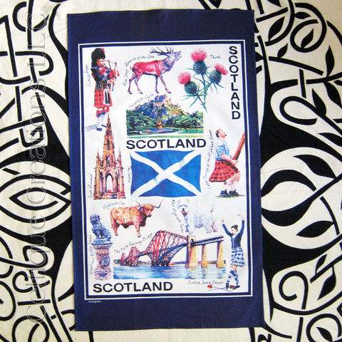 Iconic,Scotland,Cotton,Tea,Towel,Scotland Tea Towel, Scotland Motif Tea Towel, Westie, Highland Cow, Heavy Games, Highland dance, Tea Towel, Saltire, Thistle, Kitchen Towel, Cotton Towel, Celtique Creations