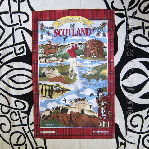 Memories,of,Scotland,Cotton,Tea,Towel,Scotland Tea Towel, Scotland Motif Tea Towel, Edinburgh Castle, Highland Cow, golf, Tea Towel, Thistle, Kitchen Towel, Cotton Towel, Celtique Creations