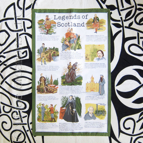Legends,of,Scottland,Tea,Towel,Scottish Legends, Scottish Historical Figures, Scottish Royalty, Scottish Jacobites, Scottish Sceintists, Scottish Adventurers, Tea Towel, Scottish Tea Towel, Kitchen Towel, Celtique Creations