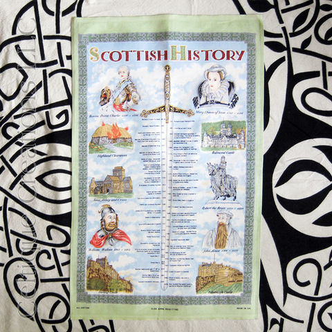 Scottish,History,Cotton,Tea,Towel,Scotland History Tea Towel, Scotland Timeline Tea Towel, Dates in Scotland History, Tea Towel, Cotton Towel, Kitchen Towel, Celtique Creations