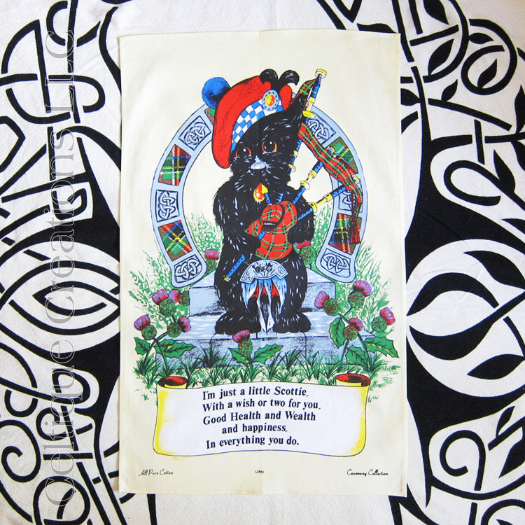 Scottie Dog Bag Piper Cotton Tea Towel - product image