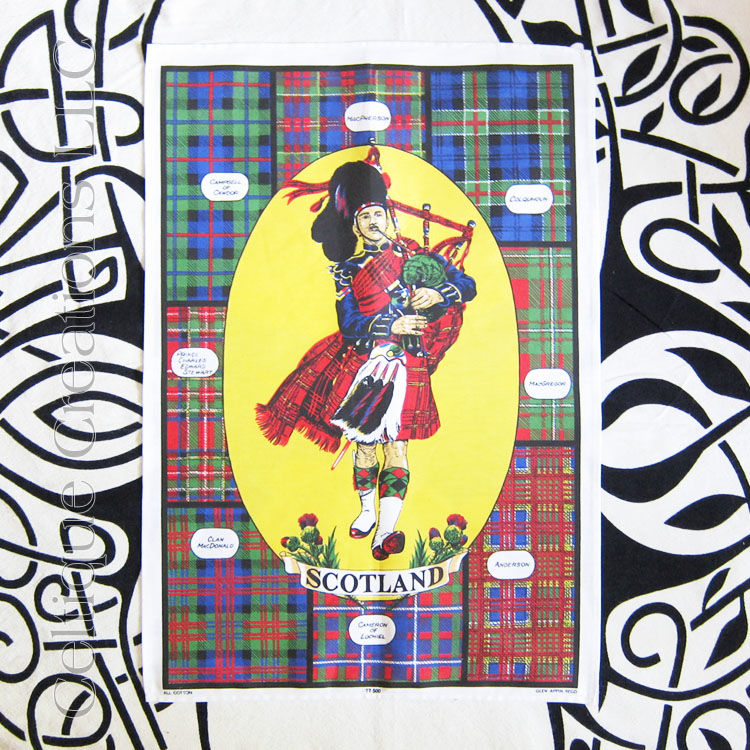 Scotland Clan Tartans with Piper Tea Towel - product image